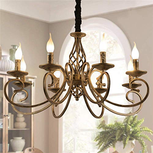 Ganeed Rustic Chandeliers,8 Lights Candle French Country Chandelier,Vintage Iron Pendant Light Fixture Hanging Light for Farmhouse,Kitchen Island,Dining Room,Bedroom