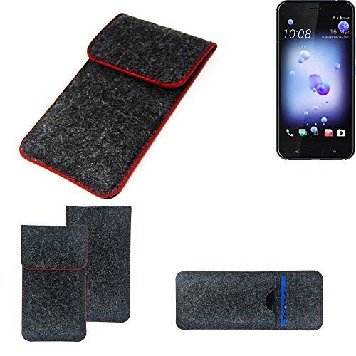 K-S-Trade Handy Schutz Hülle Für HTC U11 Dual-SIM Schutzhülle Handyhülle Filztasche Pouch Tasche Hülle Sleeve Filzhülle Dunkelgrau Roter Rand