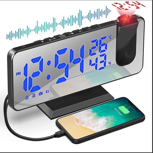 Despertador Proyector, Larkotech Radio Despertador Digital Proyector Pantalla de Espejo LED de 7'con Proyección 180°Giratorio Función Snooze Alarma Dual, Temperatura y Humedad la Oficina Dormitorio