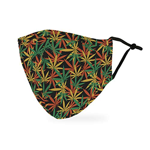 Weddingstar 3-Ply Adult Washable Cloth Face Mask Reusable and Adjustable with Filter Pocket – Cannabis Leaf