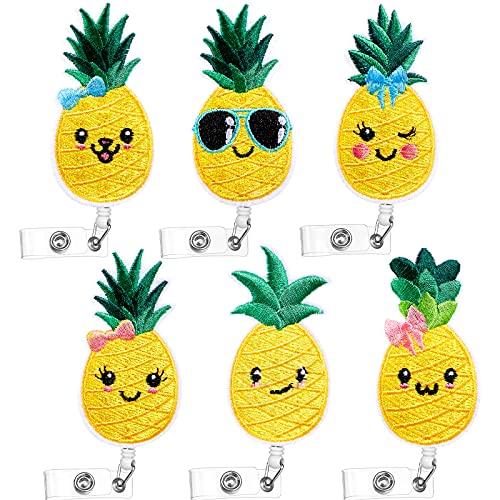 6 Pieces Felt Badge Reel Pineapple Badge Holder Cute Retractable Badge Reel Holder with Clip and Waterproof PVC Card Holder for Nurses, Students, Teachers, Volunteer, Office Worker