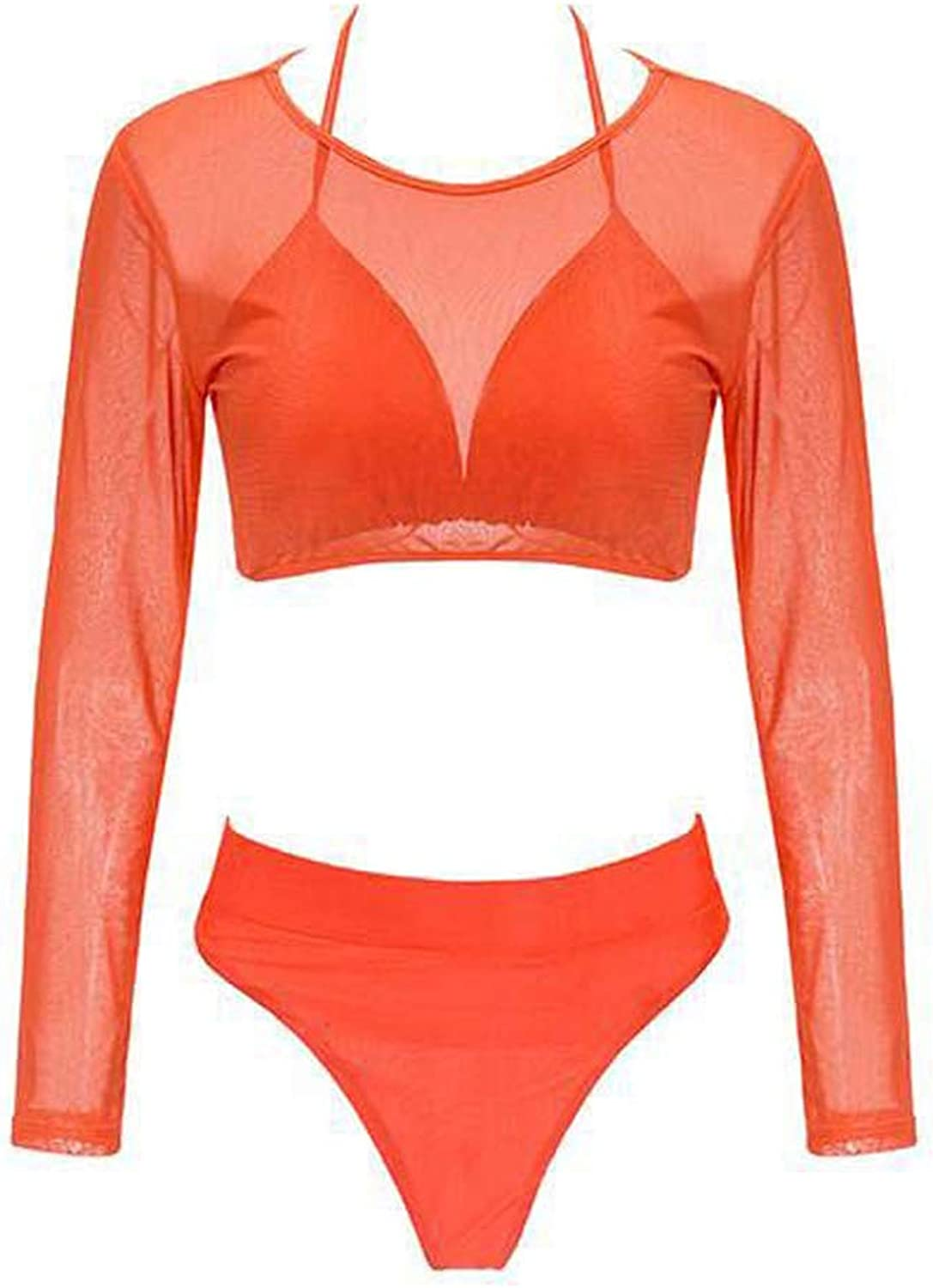 High Waist Split Swimsuit Women, Split Solid color Swimsuit Bikini Sets for Women Sexy Ladies Swimwear