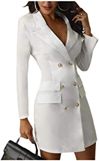 Howely Women Fashion Double Button Lapel Jacket Mid-Long Trench Coat Outwear