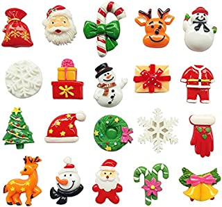 LibiIine 20pcs Mix Lots Christmas Tree Snow Beer Resin Flatback Button Art Album Flatback Scrapbooking Embellishments Diy Decoration Scrapbooking Craft Accessory