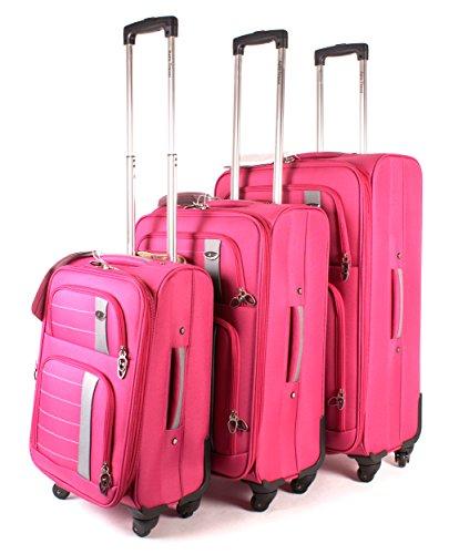 Aero Travel 1000 Series Lot de 3 valises à 4 roues Rose fuchsia