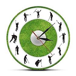 xutingting Wall Clocks Golfer Figure Grass Modern Printed Wall Clock Golf Club Decor Living Room Silent Sweep Wall Watch Golf Player Sports Wall Art