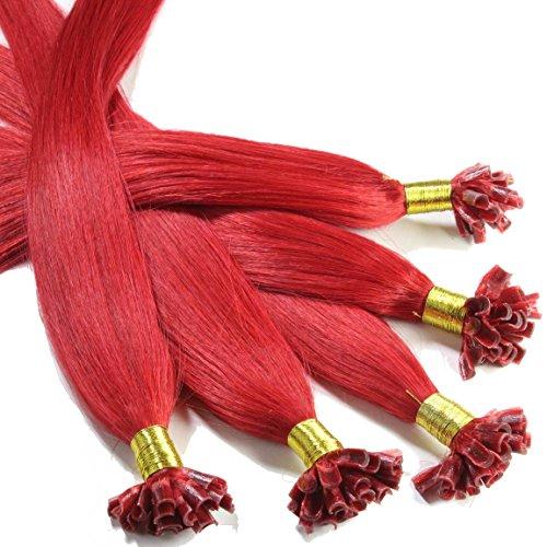hair2heart 25 x 0.5g Echthaar Bonding Extensions, glatt - 40cm - #rot