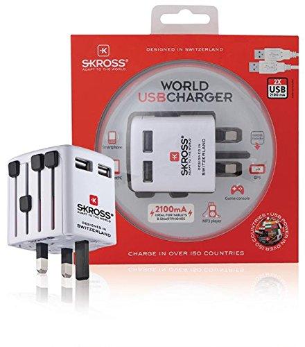 Skross Reise-Adapter World USB ohne Schutzkontakt, Smartphone, MP3-Player, Tablet PC, Spielekonsole der (973977013746)