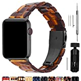 Fullmosa Compatible Apple Watch 38mm/40mm/42mm/44mm, Bright Resin Apple Watch Band for iWatch Band Series 5/4/3/2/1, Hermes, Nike+, Edition, Sport, Dark Amber (Smoky Grey Hardware) 38mm