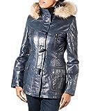 A to Z Leather Real Azul Marino y Pelo para Mujer Real Deporte Abrigo con Capucha con Texto de Piel ...