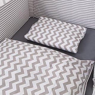 Puckdaddy Bett-Set Svea – Baby Bettwäsche-Set für Babybetten, Wendedesign mit Chevron & Streifen Muster, 100% Baumwolle, hochwertig & pflegeleicht