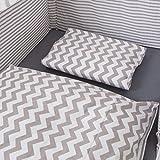 Puckdaddy Juego de cama Chevron / estriado (nido, ropa de cama, dosel) para todas las cunas