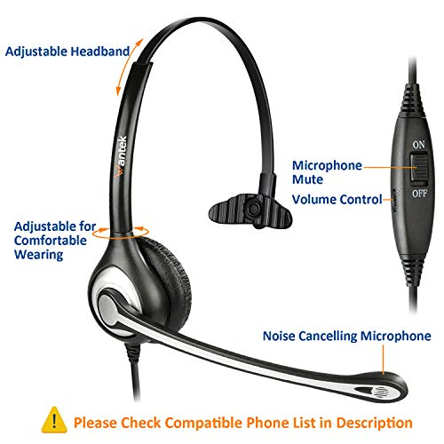 Wantek Phone Headset with Microphone Noise Cancelling, Telephone Headsets 2.5mm Jack Work for Panasonic AT&T ML17929 Vtech RCA Cisco Uniden Polycom Grandstream Home Office Cordless Phones(F600J25P)