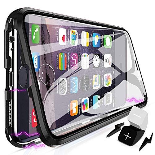 XCYYOO Coque pour iPhone 6 Plus/6s Plus,360 Degrés Avant et arrière Verre trempé Transparent Case Cover, Technologie d'adsorption Magnétique Bumper Métal Frame Etui Anti-Rayures Housse