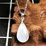 DUOVEKT - Collar con colgante de piedra lunar arcoíris natural, joyería para mujeres y hombres, piedras de cristal de 20 x 11 x 6 mm, cadenas de plata AAAAA