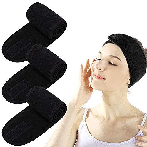 Ealicere 4 Stück schwarz Verstellbar Kosmetickstirnband mit Klettverschluss ideal für Makeup entferner, SPA, Sport, Yoga, waschbar