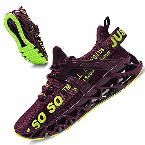 JSLEAP Laufschuhe Herren Damen Sportschuhe Straßenlaufschuhe rutschfest Sneaker 2 Weinrot,Größe 41 EU/255 CN