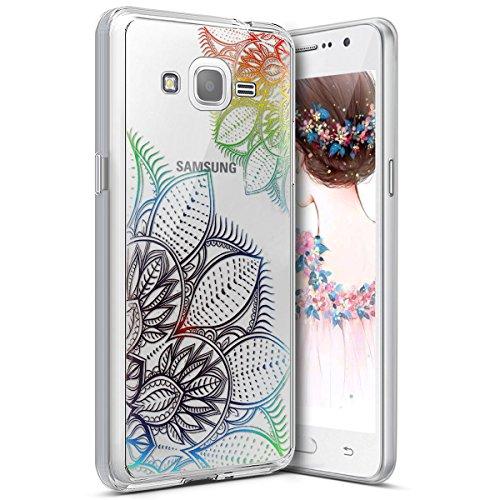 Surakey Samsung Galaxy Grand Prime G530 Cover, Silicone Morbido Trasparente HD Cristallo Chiaro Custodia con Disegno Protettiva Skin Ultra Sottile e Leggero Cover per Galaxy Grand Prime,Fiore di Pizzo