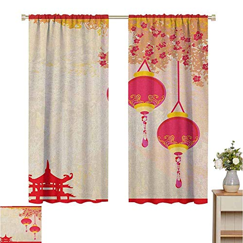 N / A Lanterne à 2 Panneaux de Rideaux occultants, Image de célébration d'inspiration Japonaise avec de Belles Couleurs Vieux thème de Papier, Jaune pâle Rose Vif, pour Chambre et Cuisine et Salon