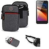 K-S-Trade® Gürtel-Tasche Für Haier G21 Handy-Tasche Schutz-hülle Grau Zusatzfächer 1x