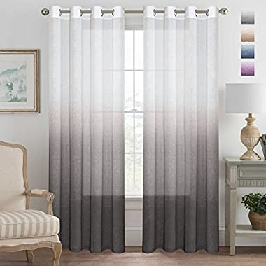 H.VERSAILTEX Brown Curtains Natural Linen Mixed Semi Sheer Curtains 96 Inches Long Beautiful Ombre Sheer Window Elegant Curtains/Drapes/Panels/Treatment, 2 Panels
