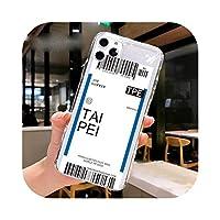 Fundas For Apple iPhone 11 12 Pro Max 7 8 Plus 12mini SE2020ケースカバーソフトTPUエアチケットレターラベルカントリーフォンケース -26-For iPhone 12 mini