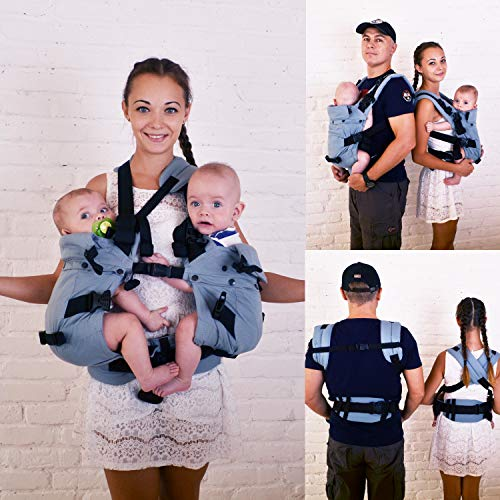 4 in 1 Malishastik Twin Baby Carrier Adapt Gray