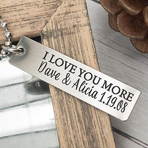 I Love You More Gift Personalized Men's Necklace Husband Anniversary Gift Idea Father's Day Gift Idea Husband Men's Necklace Birthday Gift LOVE-MORE-MEN-NECK