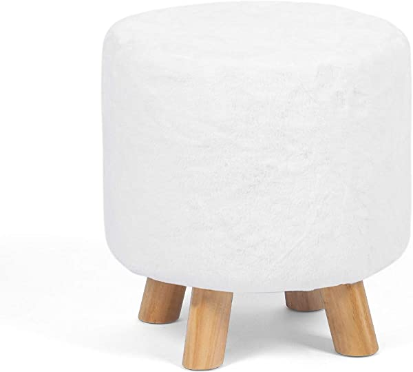 Joveco Footrest Stool White Fabric Round Ottoman White