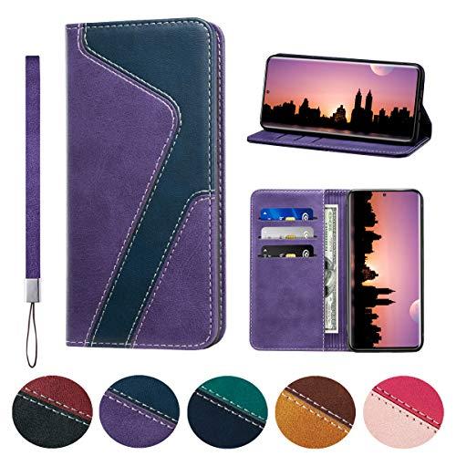 Huping - Funda para Samsung S20 Ultra (piel, con tarjetero, función atril), color morado y azul oscuro