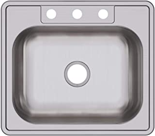 Elkay D125223 D12522-3 Dayton single kitchen sink 22x25x6.5, Three-Hole, Satin
