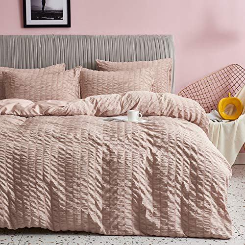 HoneiLife Duvet Cover King Size - 3 Pieces Thickened Seersucker Comforter Cover 100% Washed Microfiber Bedding Set with Zipper Closure & Corner Ties,Breathable & Wrinkle Free Duvet Cover Sets-Pink