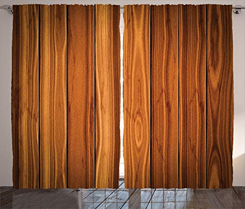 """Ambesonne Rustic Curtains, Vertical Wooden Planks Image Cottage Cabin Life in Countryside Theme, Living Room Bedroom Window Drapes 2 Panel Set, 108"""" X 90"""", Pale Caramel and Orange"""