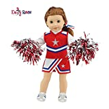 Emily Rose 18 Inch Doll Clothes for American Girl Dolls | 7 Piece USA Modern Doll Cheer Outfit, Including Gym Shoes and Pom-Poms! | Fits 18' Our Generation and Journey Girls Dolls
