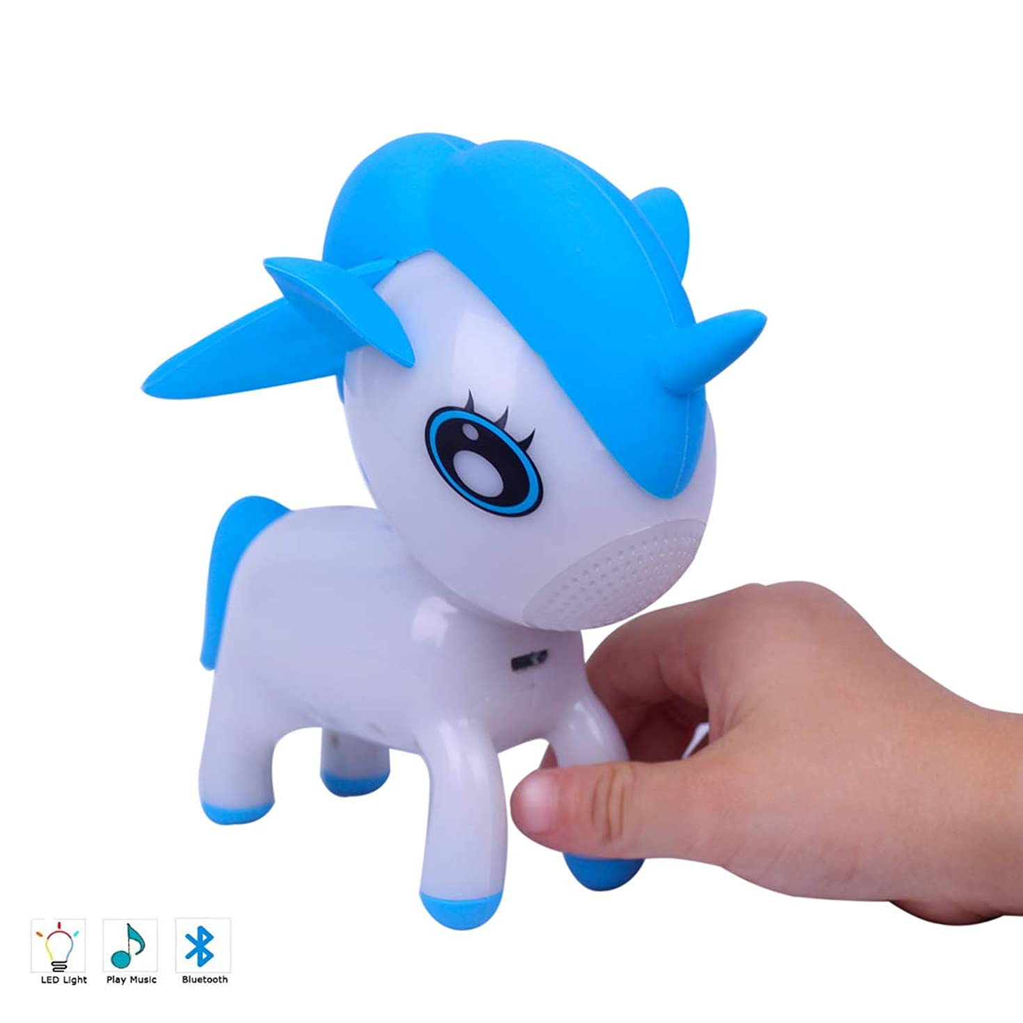 GRULLIN Unicorn Bluetooth Speakers for Kids, Portable Wireless Speaker with RGB Color Night Lamp, Music Player (Blue)