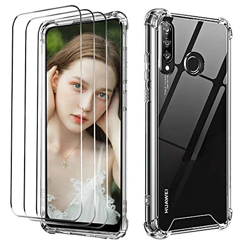 NUDGE Cover per Huawei P30 Lite con 3 Pezzi Pellicola Vetro Temperato, Custodie Silicone Laterale e Hard PC Guscio Posteriore,Case ssorbimento degli Urti e Anti-Graffio,Trasparente