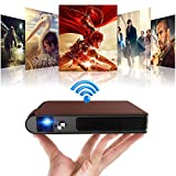 Portable DLP Projector Support Full HD/WiFi/Auto ±50°Keystone Correction/Rechargeable Battery/Large Display,Mini 3D Movie Projector with HDMI USB for Home Theater DVD Player iOS Android Windows