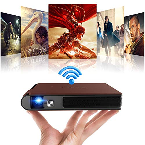 Mini Pocket 3D DLP Projector Wireless WiFi Portable Full HD 1080P Supported Home Theater Outdoor Movie Video Projector Screen Mirroring Airplay with 8400mAh Battery for Smart Phone Laptop PS5 USB HDMI