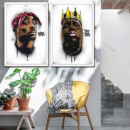 Refosian MHHSFN B.I.G Biggie Smalls Tupac 2PAC Shakur Hip Hop Gangsta Rap Musik Kunst Malerei Poster Wandbilder Home Decor-50x70cmx2p ohne Rahmen
