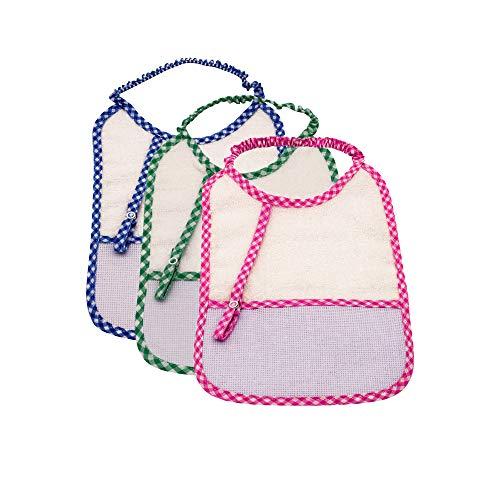 my STITCHERY® Baby Kleinkind Überzieh-Lätzchen mit Schnuller-Kette ab 3 Monate, 3er Set Farben blau rosa grün, Unisex, 100% Baumwolle Frottee 25cm x 18cm BSCI
