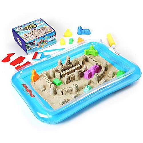 AnanBros Play Sand, Magic Space Sand Castle Building Kit, Squeezable Beach Sand 2 LB + Castle Molds and Sand Tray, Best Sand Toys for Kids