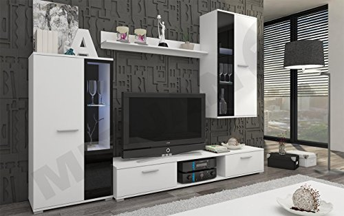 Wohnwand – Moderne Mediawand in schwarz/weiß kaufen  Bild 1*