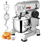 Happybuy Commercial Food Mixer 15Qt 600W 3 Speeds Adjustable 110/178/390 RPM Heavy Duty 110V with Stainless Steel Bowl Dough Hooks Whisk Beater Premium for Schools Bakeries Restaurants Pizzerias