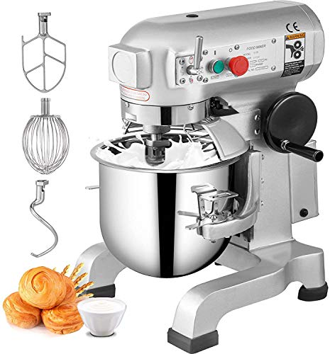 Happybuy Commercial Food Mixer 15Qt 600W 3 Speeds Adjustable 110/178/390 RPM Heavy Duty 110V with...