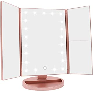 WEILY LED化粧鏡 卓上鏡 三面鏡 折りたたみ式 2倍&3倍拡大 女優ミラー 180度回転 ライト鏡 明るさ•角度自由調整 収納便利 USB/電池交換可能 (ローズゴールド)