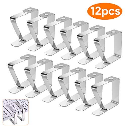 Telgoner Tischdeckenklammer Edelstahl, 12 Stück Draußen Tischtuchklammern Tischdeckenhalter Tischtuch Klein Klemme Clips für Dicke Tische Gartentisch, Silber, 5 x 4 cm