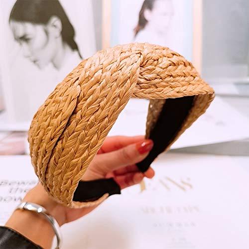 Diadema de pelo para fiesta, con paja, accesorio para el pelo, simple y sólido, para mujer, con nudo de verano a la moda y de lado ancho, hecha a mano