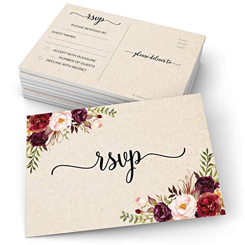 321Done RSVP Postkarten (Set mit 50 roten Rosen, 10 x 15 cm, blanko, mit Versandseite, Antwortkarten für Brautparty, Hochzeit, Party, hergestellt in den USA, Kraftbraun