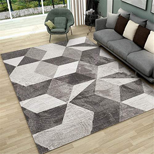 Xiaosua Non-Fading Carpets Simple and irregular geometric mosaic design pattern carpet, living room bedroom carpet wear-resistant non-slip Room Rugsgrey 60x90cm