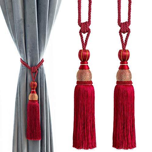 Melodieux Decorative Curtain Tiebacks Ball Tassels Holdbacks - Home Office Windows Drapery Fasteners Braided Buckle Fringe Ropes, Set of 2 (Red)